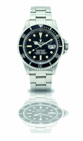 Rolex. A fine and rare stainless steel calendar automatic bracelet watch Submariner, Ref:1680, Case No.5030228, Movement No.D148198, Circa 1977