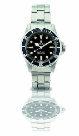 Rolex. A fine and rare stainless steel automatic bracelet watchSubmariner, Ref:5513, Case No.5276586, Circa 1977
