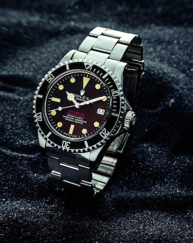 Rolex. A very fine and rare stainless steel automatic calendar bracelet watch 'Double Red' Sea-Dweller Mark II, Ref:1665, Case No.1760304, Movement No.DO45416, Circa 1964