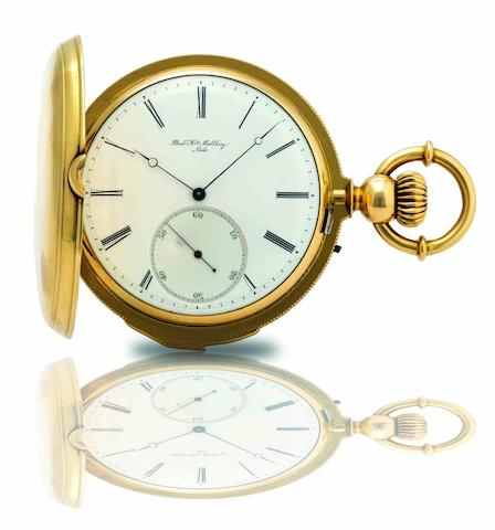 Paul H. Matthey.  A fine 18ct gold hunter case minute repeater pocket watch Case No.13212, Movement No.9609, 19th century
