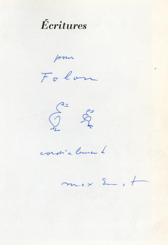 ERNST (MAX) Écritures, AUTHOR'S PRESENTATION COPY, Paris, Gallimard, [1970]