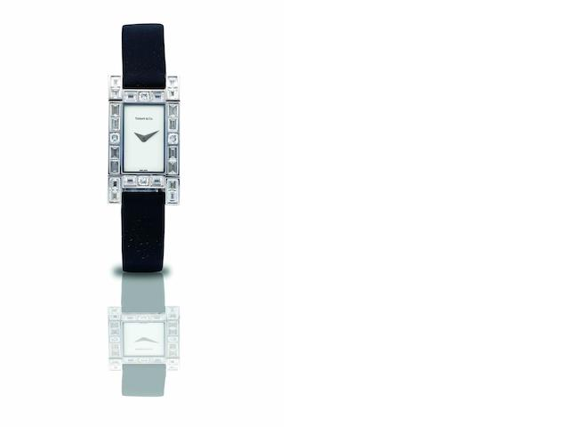 Tiffany & Co. A very fine and rare 18ct white gold and diamond set lady's quartz wristwatch Recent