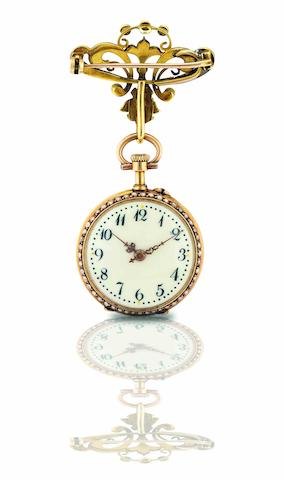 Swiss. A fine 14ct gold and seed pearl set keyless wind pocket watch with matching pearl set brooch Case No.145208, 19th Century
