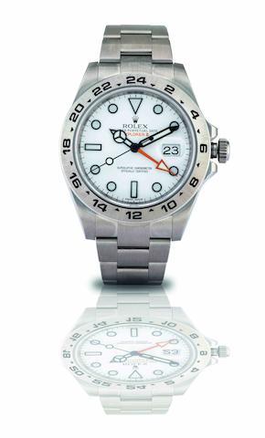 Rolex. A fine stainless steel calendar dual timezone automatic bracelet watch Explorer II, Ref:216570, Recent