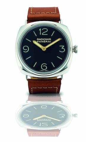 Officine Panerai. A fine and rare limited edition stainless steel manual wind wristwatch Radiomir 1938, Ref:PAM 232, Limited Edition No. OOR 28/40, Circa 2009