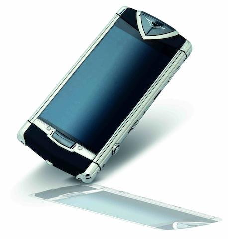 Vertu. A fine stainless steel cellular touchscreen telephone with black leatherConstellation, Ref:RM-681V, Case No.T-011162, Sold in 2012