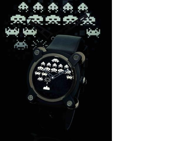 Romain Jerome. A fine and rare limited edition PVD coated stainless steel automatic wristwatch Space Invaders, Ref: RJ.M.AU.IN.006.01, Limited Edition No.17/78, Circa 2011