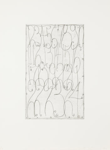 Matt Mullican (American, born 1951) Untitled The complete set, 2006, comprising five etchings printed with tone, each signed and numbered 1/16 in pencil, with full margins, each 575 x 410mm (22 5/8 x 16 1/8in)(PL) 5