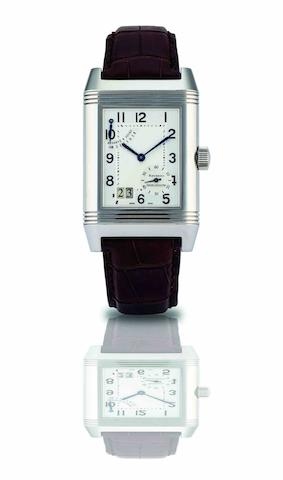 Jaeger-LeCoultre. A fine and rare stainless steel reversible calendar manual wind wristwatch with 8-day power reserveReverso Grande Date, Case No.2182182, Circa 2005