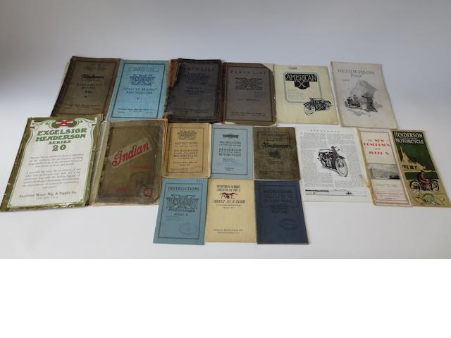 A quantity of Pioneer Excelsior-Henderson sales and technical literature,