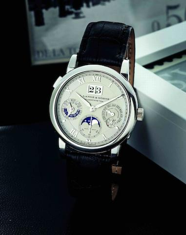 A. Lange & Söhne. A very fine and rare PT950 platinum perpetual calendar automatic wristwatch with moon phases Langematik Perpetual, Ref:310.025, Case No.134479, Movement No.24462, Circa 2007