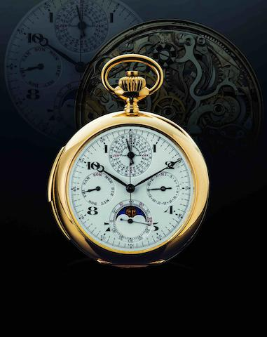 Le Phare. A fine and rare 18ct gold open face perpetual calendar moon phase chronograph minute repeater keyless wind pocket watch Case No.63140, Circa 19th century