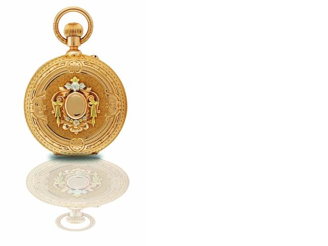 B. Hass, Jeunes & Co. A very fine and rare 18ct tri-coloured gold hunter case triple calendar keyless wind pocket watch with moon phasesCase No.15375, Made for the South American Market, Circa 1874