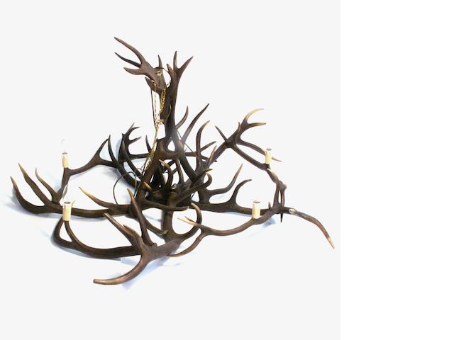 A five light antler chandelier