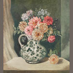 Adrian Feint (1894-1971) Roses in a spode jug  (20cm wide X 22cm tall) without frame