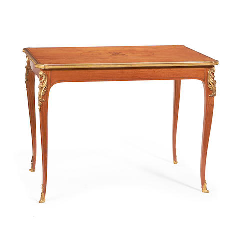A French late 19th/early 20th century gilt metal mounted satinwood and rosewood banded centre table in the Louis XV style