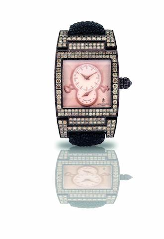 De Grisogono. A fine and rare coated 18ct white gold and diamond set dual time lady's automatic wristwatch Instrumentino, Case No.016790, Sold in 2008