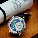 F.P. Journe. A very fine and rare limited edition PT950 platinum calendar retrograde automatic wristwatch with mother-of pearl dialOcta Calendrier, 1 of 15 pieces, Case No.286-Q, Sold in 2006