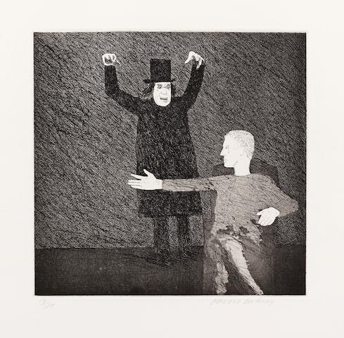 David Hockney (British, born 1937), British, born 1937 Inside the Castle Etching with aquatint, 1969, on Hodgkinson handmade wove paper, signed and numbered in pencil 17/100, published by Petersburg Press, London, with full margins, 255 x 263mm (10 1/8 x 10 3/8in)(PL) PL