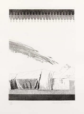 David Hockney R.A. (British, born 1937) Cold Water about to Hit the Prince Etching with aquatint, 1969, on Hodgkinson handmade wove paper, signed and numbered 17/100 in pencil, published by Petersburg Press, London, with full margins, 385 x 270mm (15 1/8 x 10 5/8in)(PL)   PL