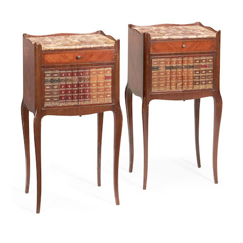 A pair of French late 19th century tulipwood bedside commodes in the Transitional style