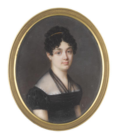 French School, circa 1810 Marie Angèle, Baronne de Montbrun (née Jard-Panvilliers) (1787-1827), wearing black dress with white lace trim and black muslin fill-in, gold and onyx pendant earring, a gold comb in her dark curled upswept hair