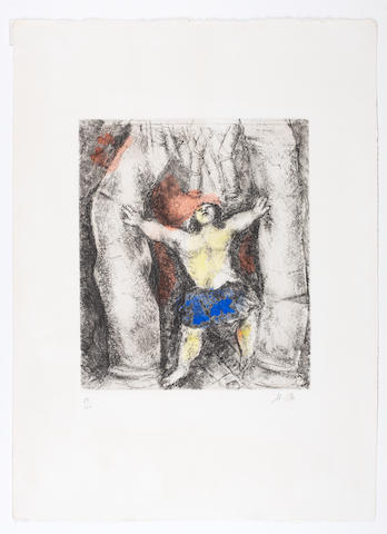 Marc Chagall (Russian/French, 1887-1985) Samson Breaking the Columns, from the Bible Series Etching with hand colouring, 1958, on Arches, signed with initials and numbered 89/100 in pencil, printed by Raymond Haasen, Paris, published by Tériade Editeur, Paris, 290 x 247mm (11 3/8 x 9 3/4in)(PL) unframed