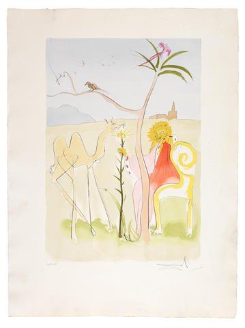 Salvador Dalí (Spanish, 1904-1989) Le Bestiaire de La Fontaine Dalinisé The complete set of twelve etchings with drypoint and pochoir, 1974, printed in colours, on Auvergne, each signed and numbered 'II/CXX' in pencil, a proof aside from the edition of 250, with title page, text and justification, printed by Ateliers Rigal, Paris, and published by Editions des Maitres Contemporains, Paris, in the original brown velvet-covered portfolio, 570 x 395mm (22 3/8 x 15 1/2in)(PL);(835 x 610mm (33 x 24in)(Folio)