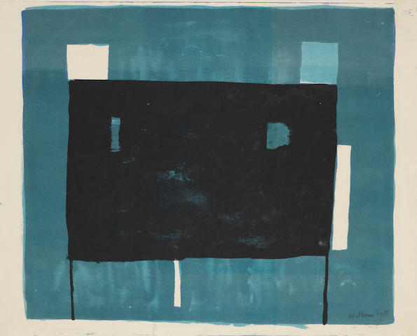 William Scott R.A. (British, 1913-1989) Blue, Black and White Composition The rare lithograph printed in hues of blue and black, 1952, on wove, signed, dated 1953 and numbered 5/60, printed at the Bath Academy of Art, Corsham, published privately, with margins, 380 x 475mm (15 x 18 3/4in)(SH)