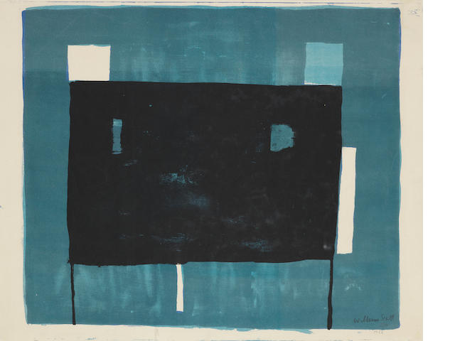 William Scott R.A. (British, 1913-1989) Blue, Black and White Composition The rare lithograph printed in hues of blue and black, 1952, on wove, signed, dated 1953 and numbered 5/60, printed at the Bath Academy of Art, published privately, with margins, 380 x 475mm (15 x 18 3/4in)(SH)