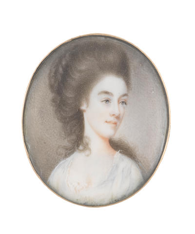 Attributed to Joseph Daniel (British, circa 1760-1803) A Lady, wearing pale blue dress over white lace chemise, her hair partially upswept, plaited and coiled into a large knot at the back of her head, the remainder falling down her neck and back in loose curls