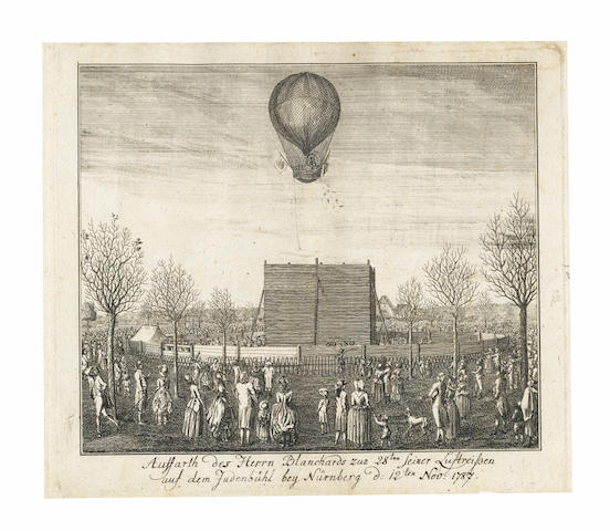 BALLOONING A bound volume of 12 engraved plates, and 3 engraved text leaves relating to ballooning, mostly concerning Blanchard