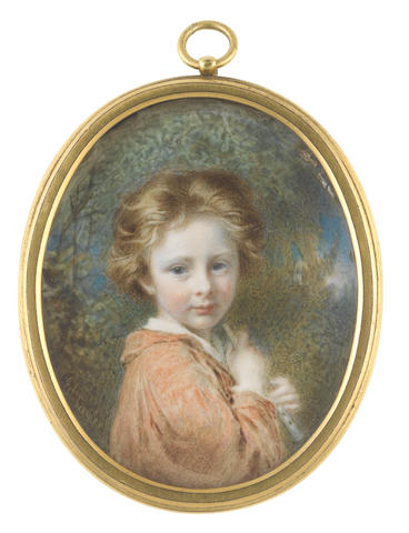Edward Tayler, R.S.M. (British, 1828-1906) A Young Boy, named Alick, possibly Alexander Hohenlohe, standing in a landcape with a pipe to his chest, wearing rust coloured tunic over a white chemise, his strawberry blonde hair falling back from his face in waves