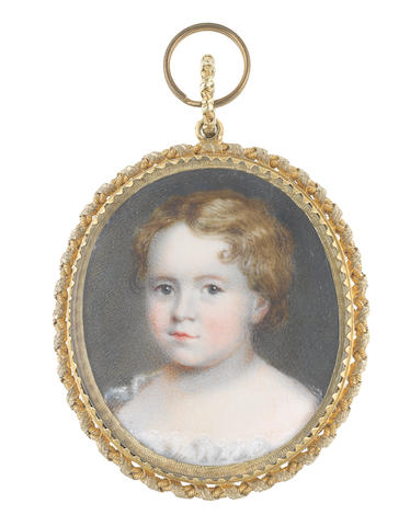 Circle of Kenneth Macleay, R.S.A. (Scottish, 1802-1878) A Young Child, wearing white dress with lace trim and blonde wavy hair worn short