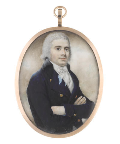 John Russell, RA (British, 1745-1806) A half-length portrait miniature of a Gentleman, his arms folded, wearing blue coat with black collar, white waistcoat, chemise, stock and tied cravat, his hair powdered