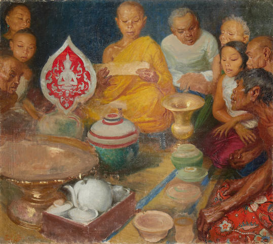 Cleto Luzzi (Italian, 1884-1952) Ceremony, Thailand