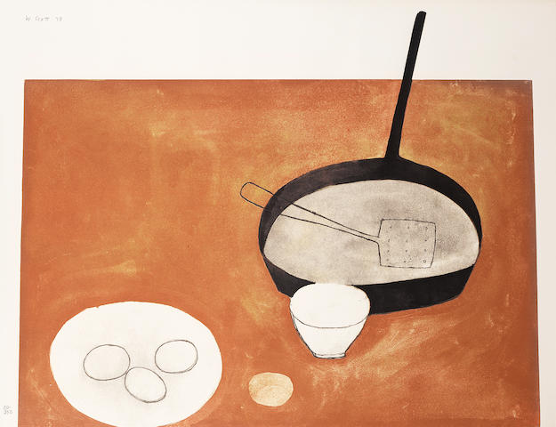 William Scott R.A. (British, 1913-1989) Still life with Frying Pan Lithograph printed in colours, 1973, on wove, signed, dated and numbered 20/250 in pencil, printed at Kelpra Studios, London, published by CCA Galleries, London, with their blindstamp, with full margins, 675 x 888mm (26 1/2 x 35in)(SH)