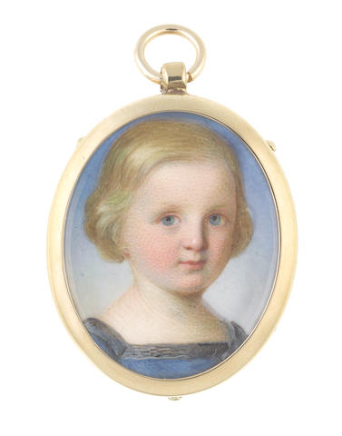 John Haslem (British, 1808-1884) Two portrait miniatures of a Brother and Sister; the former, wearing square-necked blue dress, his blonde hair worn short and parted to the right; the latter, wearing plain white dress, her blonde hair worn short, softly curling and combed over her ears