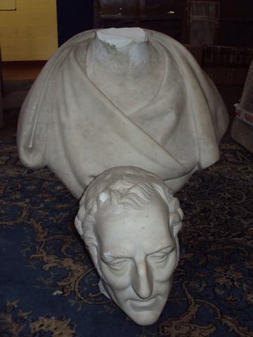 A damaged 19th century carved marble bust of the Duke of WellingtonCharles Harvey Weigall, NWS (British, 1794-1877)