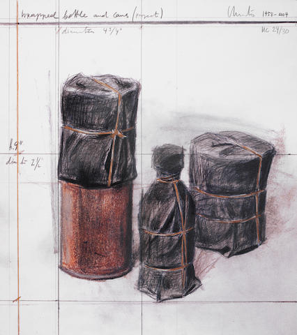Christo & Jeanne-Claude (American, born 1935; American, 1935-2009) Wrapped Bottles and Cans Offset lithograph printed in colours, 1958-2004, on handmade paper, signed and inscribed 'HC 24/30', a proof aside the edition of 200, published by Landfall Press, Chicago, the full sheet printed to the edges, 389 x 349mm (15 1/4 x 13 3/4in)(SH)(unframed)