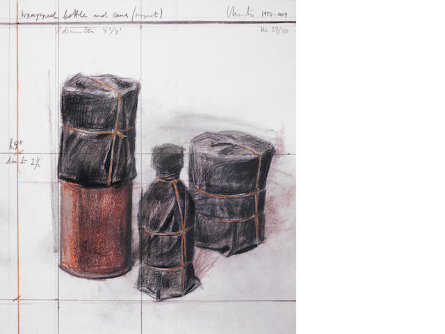 Christo & Jeanne-Claude (American, born 1935; American, 1935-2009) Wrapped Bottles and Cans Offset lithograph printed in colours, 1958-2004, on handmade paper, signed and inscribed 'HC 24/30', a proof aside the edition of 200, published by Landfall Press, Chicago, the full sheet printed to the edges, 389 x 349mm (15 21/64 x 13 3/4in)(SH)(unframed)