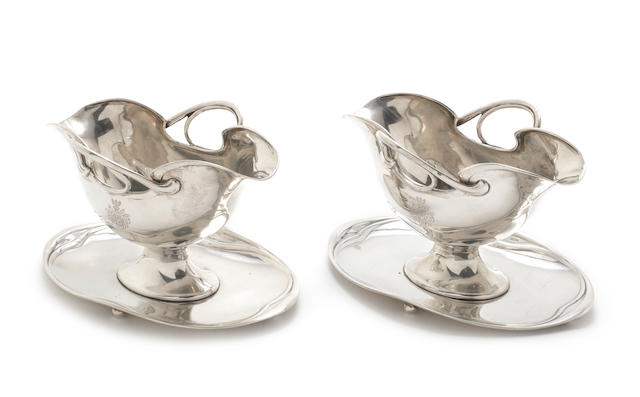 A pair of late 19th/early 20th century German silver sauce boats in the Art Nouveau taste by Otto Schneider, Berlin circa 1900