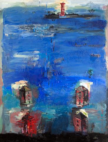 Yiannis Kottis (Greek, born 1949) Island view 220 x 168 cm.