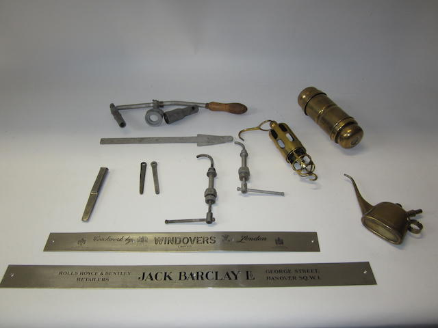 Assorted Rolls-Royce tools and accessories,