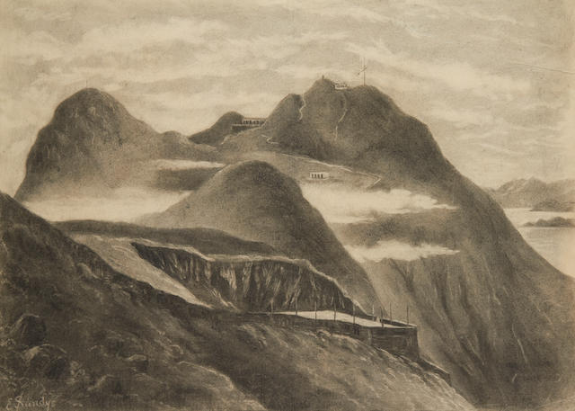 E. Sandys (British, 19th Century) Victoria peak, Hong Kong