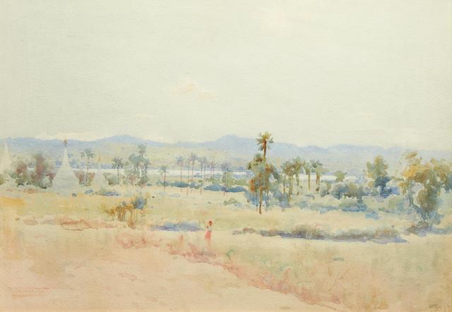 Robert George Talbot Kelly (British, 1861-1934) The Irrawaddy Valley, Upper Burma