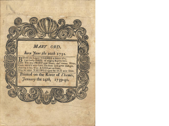 THAMES FROST FAIR Handbill souvenir of the 1739-1740 Frost Fair on the Thames, in a Book of Common Prayer