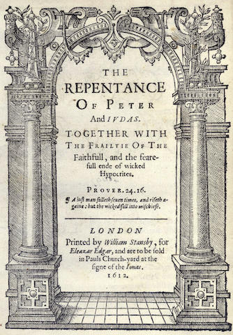 RICHARDSON (CHARLES) The Repentance of Peter and Judas, 1612 and 14 others (15)