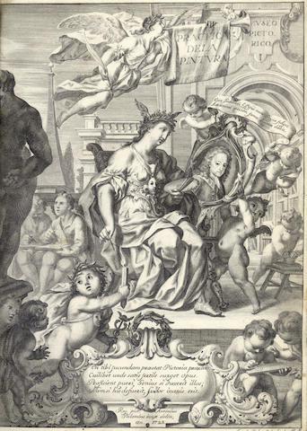 SPANISH ART PALOMINO DE CASTRO Y VELASCO (ANTONIO) El museo pictorico, y escala óptica... teórica de la pintura, 3 vol. in 2, 1795-1797