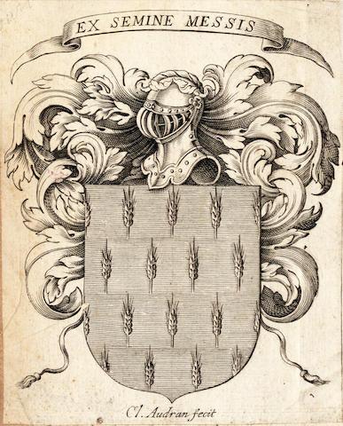 COUSTUREAU (NICOLAS) Histoire de la vie et faits du Louis de Bourbon, surnommé le Bon, with claude Audran bookplate, 1645